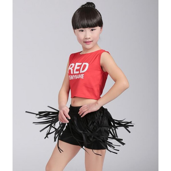 1143845ff655 Children Jazz Dance Wear   Red and black white and black split set ...