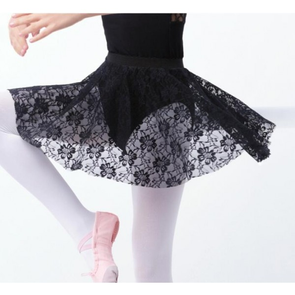 95dba983a White black wine Girls Kids Ballet Dance Skirts Black Floral Lace ...