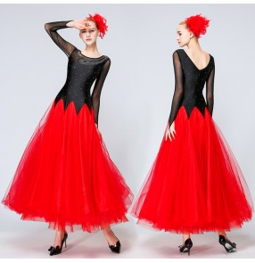 Black and red patchwork long length women's ladies competition professional big skirt ballroom tango waltz dance dresses