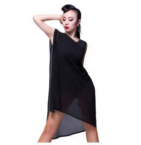 Black white competition professional practice gymnastics women's ladies latin salsa dance leotards dresses