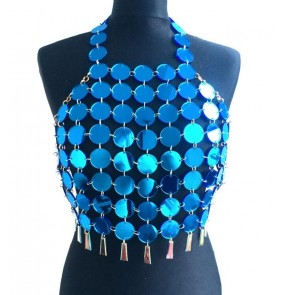 Gold silver lens coins backless halter neck women's ladies sexy performance jazz ds dj pole dance tops vests