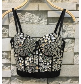 Hand-made Diamonds silver black Pearls Corsets Women's jazz singers club bar Bustier Bra Cropped Tops Wedding Bralette Vest