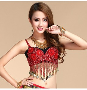 Belly Dance Bra with Coins Bellydance Top Clothing Costume India Dancing Tops Clothes For Dancing