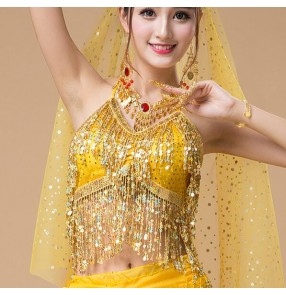 Yellow red Belly dance costumes senior sexy colors stones sequins belly dance bra for women belly dancing bra tops