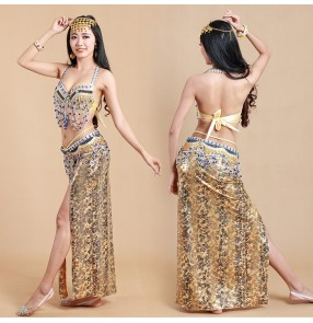 Gold silver red hot-selling belly dancing Costumes belly dance Set Egyptian dancing Clothes 3pcs Bra/Belt/Skirt 3 sizes