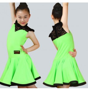 Green red Child Kid Children Latin Dance Dress For Girls Samba Stage Dress Dancing Dress Latin Dancewear Performance Lace Costume