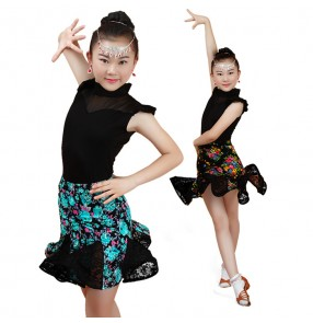 Green yellow black floral printed lace girls kids children gymnastics performance school latin  leotards tops skirts dance dresses