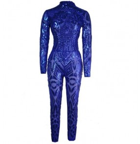 Royal blue gold Summer Women ladies pole dance jazz singers Sequin Rompers Jumpsuit Elegant Bodycon African Bodysuit