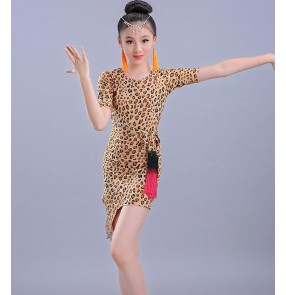 Leopard printed girls kids children performance gymnastics latin salsa rumba dance dresses with sashes