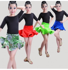 Green floral red royal blue patchwork girls kids children gymnastics performance latin salsa cha cha dance dresses