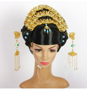 vintage long hair for women ancient chinese wig ancient women cosplay halloween princess queen  chinese ancient dynasty wig