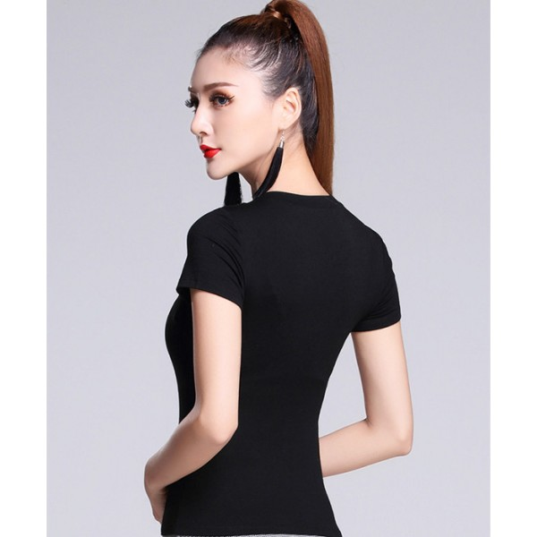 9089e5abcd4 New sexy Ballroom Modern Latin dance clothes tops for women female girl  dancer wears V-neck performance wear
