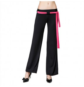 Black with fuchsia  sashes women's ladies gymnastics performance ballroom latin dance pants trousers