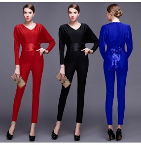 Royal blue black red sexy jumpsuit rompers Summer high waist long overalls Elegant beach play suit women outfits long pants