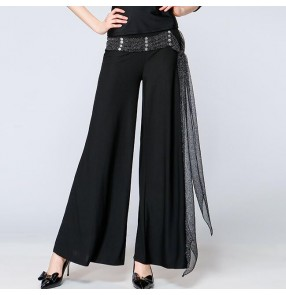 Black with sashes women's long length wide leg ballroom waltz latin salsa dance pants trousers