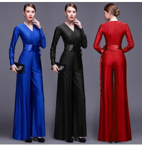 Royal blue Women Solid long Jumpsuit Elegant Overalls Casual V-neck sleeveless Wide leg pants Rompers