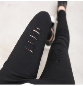 Women Fahion Slim Hole leggings Broken Hole Pencil Pant legging Trousers Ripped Slim  Stretch Pants Hole Decorate