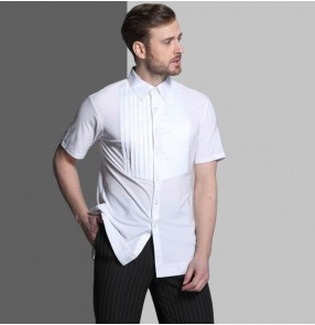 adult men's short sleeve shirt Plus Size Black Waltz Latin Dance shirt Men Latin Dance Shirts modern Ballroom stage dance tops