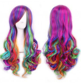 Strong Beauty Ombre Wig Natural Wavy Synthetic anime cosplay performance dancing heat resistant fiber lace front Wigs Long Rainbow Hair