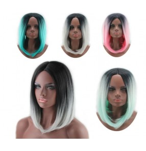Ombre Grey mint pink Color heat resistant Synthetic fiber Straight Hair Short Haircuts Bob For cosplay dance Black Women