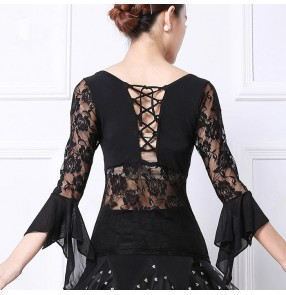 Black lace long sleeves patchwork Latin Dance Top  Dance Costumes Salsa Dancing Dress For Women Latin Ballroom Dance blouses