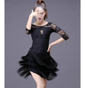 Sex Stage Women Lady Latin Dance Dresses More Color Tassel Costume Made Performance Party Samba Roupa Infantil Feminina