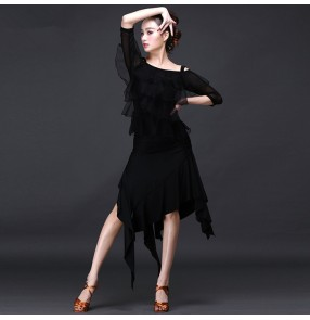 New style Latin dance costume sexy senior spandex  long sleeves latin dance dress for women latin dance dresses