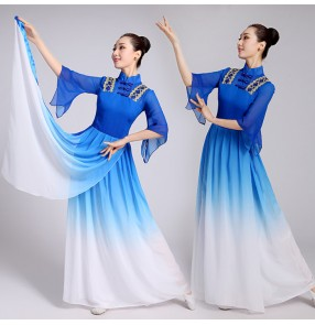 Women Royal blue Chinese Yangko Dance Costume Chinese Classic Fan Stage Dance Clothing Female Chinese Folk Dance Dress