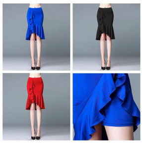 New Girls Latin Skirt Salsa/Tango/Rumba Dacing Cha Cha Women Ballroom Dance Skirt Square Dance Royal blue red Black with lining shorts