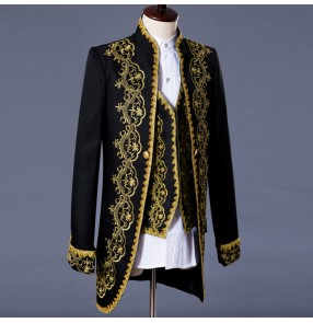 Men New style fashion black white gold embroidery male palace singer DJ slim gentleman party dj ds costume blazer dancing jazz jacket men's coat