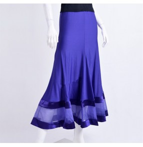 Latin Skirts Salsa Tango Rumba Cha Cha Ballroom Dance Skirt Sexy Violet black Stage competition Performance Salsa Dance Costume