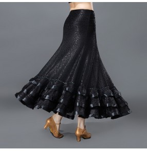 Violet black leopard flamenco skirts for latin dance women skirt long adult ballroom practice woman modern standard dress competition