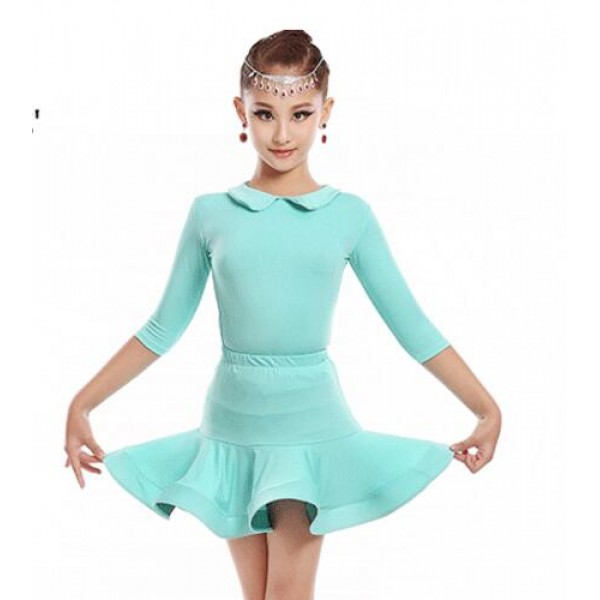 847e768ac073 Mint light pink child dance girl latino dancing cheap dresses kids ...