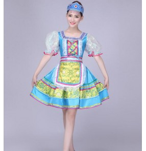 Turquoise folk dance costumes classical woman traditional russian costumefor kids dance children girls national for china dress