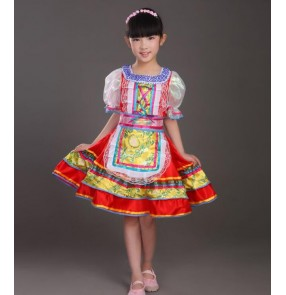 Russian European Style Girls Red blue Traditional International Children's Day Stage cosplay Dance Costumes Dresses For Kids Dress Kawaii