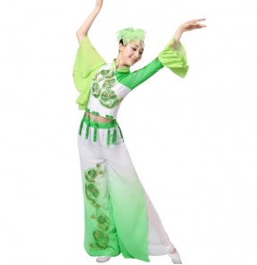 Green Gradient traditional chinese dance costumes women fan dance ancient Drama film cosplay clothing folk dance costume for woman