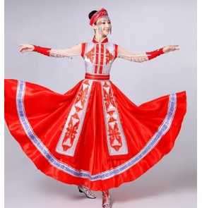 Blue red Mongolian costume dance clothes Ancient princess dress stage performance clothing Chinese folk dance costume