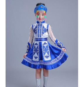 Child Mongolian Costume for Stage Dance Women Chinese Ethnic Girls cosplay Mongolia Dance Dress Chinese Minority robes Clothing