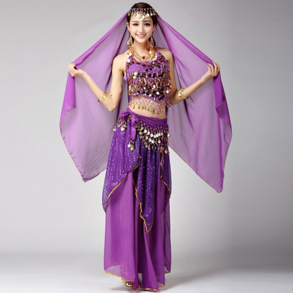 Sexy Red Yellow Egypt Belly Dance Costume Bollywood Indian Dress