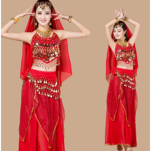 Sexy Red Yellow Egypt Belly Dance Costume Bollywood Costume Indian Dress  Bellydance Dress Womens Belly Dancing Costume
