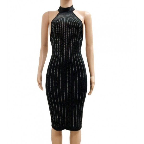 0efb16708ac A line black striped patchwork dew shoulder knee above length Fashion girls  women s summer bodycon dresses vestidos