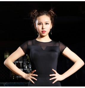 Adult Ballroom Costume Sexy Latin dance top for women/female black purple Vogue short-sleeve tops performance wear