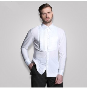 Adult  men's long sleeves shirt Plus Size white Waltz Latin Dance shirt Men Latin Dance Shirts modern Ballroom stage dance tops