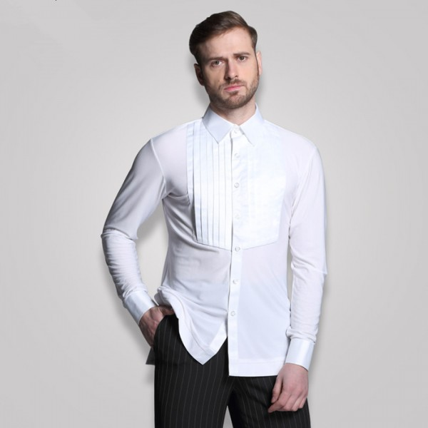 Adult men\'s long sleeves shirt Plus Size white Waltz Latin Dance shirt Men  Latin Dance Shirts modern Ballroom stage dance tops