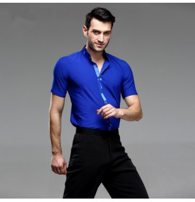 Royal blue colored Mens male man Men's stand collar short sleeves competition professional ballroom waltz tango latin dance tops shirts