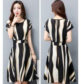 striped girls women's ladies korean style fashion A Line slim dresses