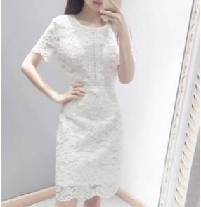 white girls women's v neck dew shoulder bowknot  japanese korean style summer dresses