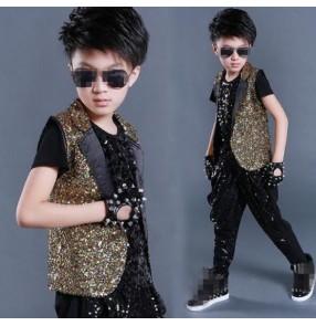 Black gold rainbow sequins paillette vest and harem pants boys kids children stage performance competition school play jazz hip hop singer dancing outfits sets