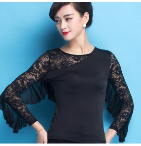 Black lace patchwork flare sleeves women's ladies competition professional latin ballroom dance cha cha salsa tops blouses