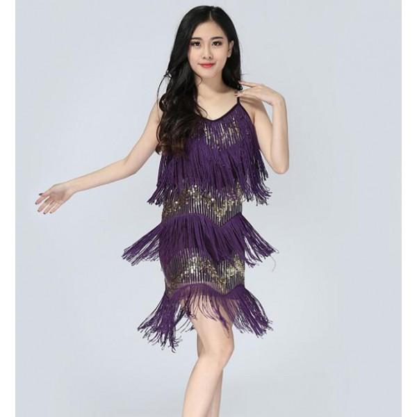 d62dffb3 Purple turquoise royal blue red black sequins fringes women's latin salsa  cha cha dance flapper dresses